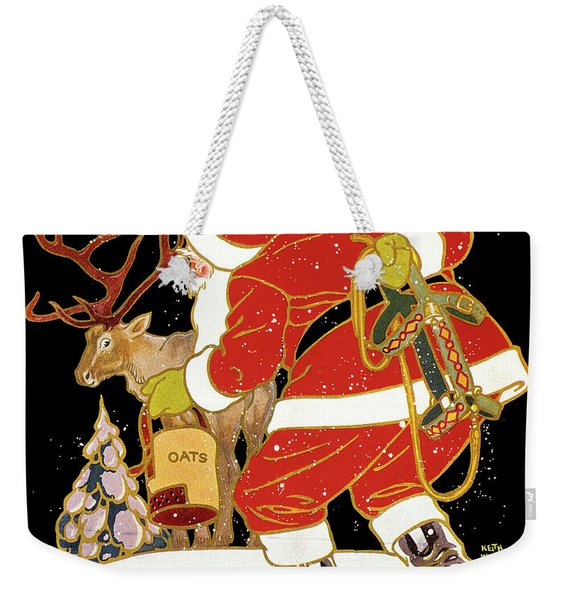 1920s Drawing Of Santa Tying To Catch Weekender Tote Bag