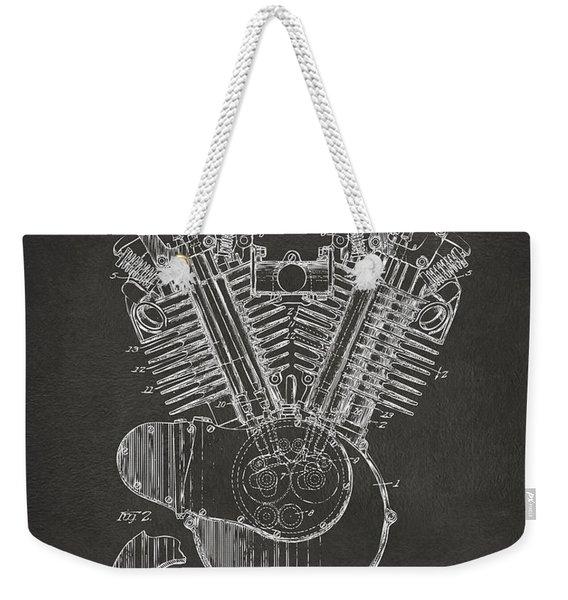 1923 Harley Engine Patent Art - Gray Weekender Tote Bag