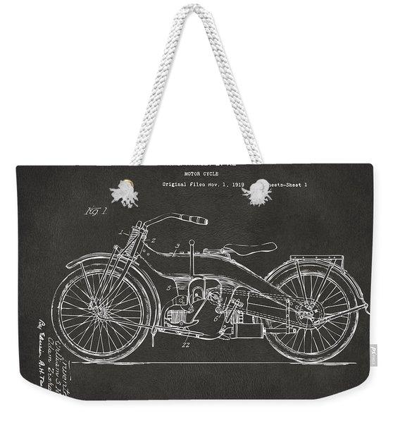 1924 Harley Motorcycle Patent Artwork - Gray Weekender Tote Bag