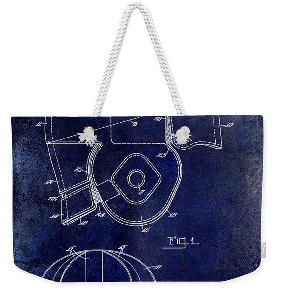 1925 Football Helmet Patent Drawing Blue Weekender Tote Bag