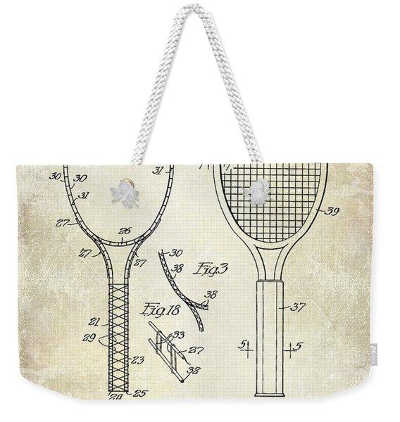 1927 Tennis Racket Patent Drawing  Weekender Tote Bag