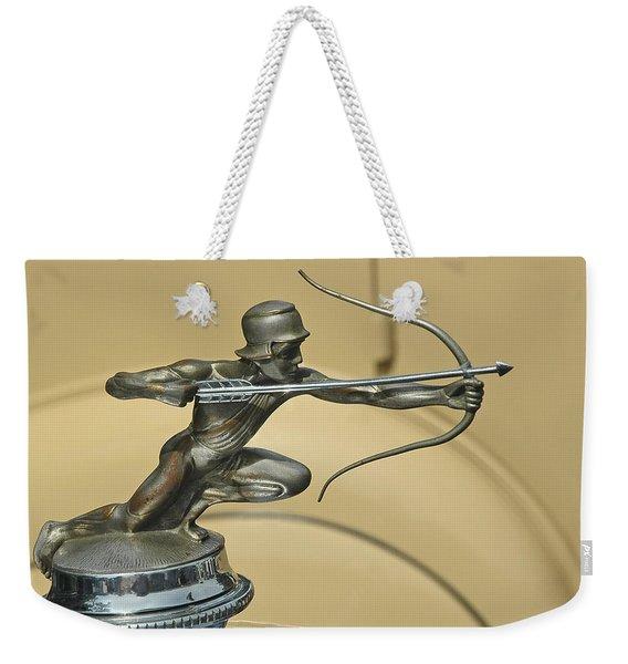 1928 Pierce Arrow Helmeted Archer Hood Ornament Weekender Tote Bag