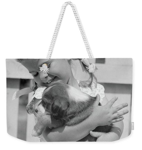 1930s 1940s 1950s Little Girl Weekender Tote Bag