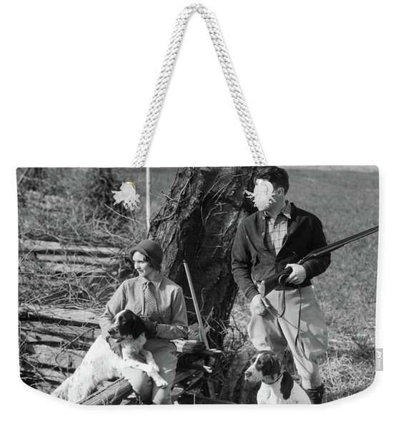1930s Couple In Hunting Gear With Two Weekender Tote Bag