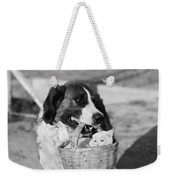 1930s Dog Holding Cat In Straw Basket Weekender Tote Bag