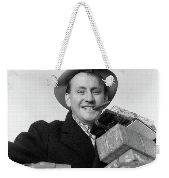 1930s Man Cigar In Mouth Hat Tipped Weekender Tote Bag