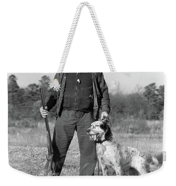 1930s Man Standing In Field Holding Weekender Tote Bag