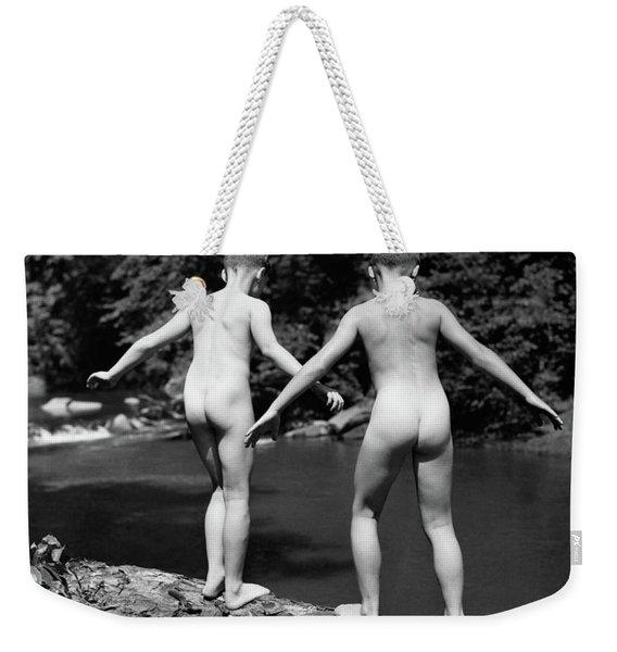 1930s Rear View Pair Naked Skinny- Weekender Tote Bag