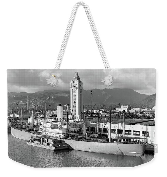 1930s Ship Freighter At Dock By Aloha Weekender Tote Bag
