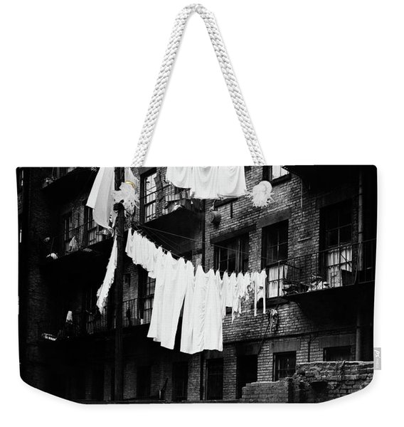 1930s Tenement Building With Laundry Weekender Tote Bag
