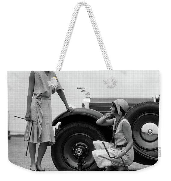 1930s Two Women Confront An Automobile Weekender Tote Bag