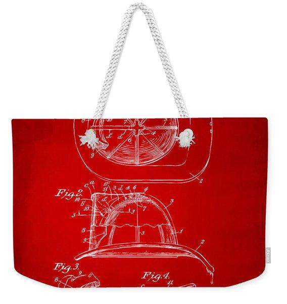1932 Fireman Helmet Artwork Red Weekender Tote Bag
