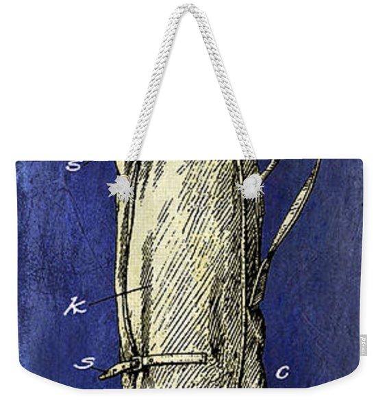 1933 Golf Bag Patent Drawing 2 Tone Blue Weekender Tote Bag
