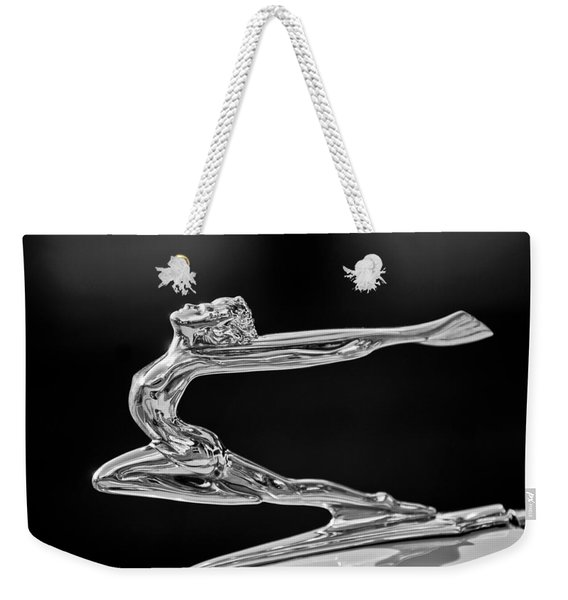 Weekender Tote Bag featuring the photograph 1934 Buick Goddess Hood Ornament -174bw by Jill Reger