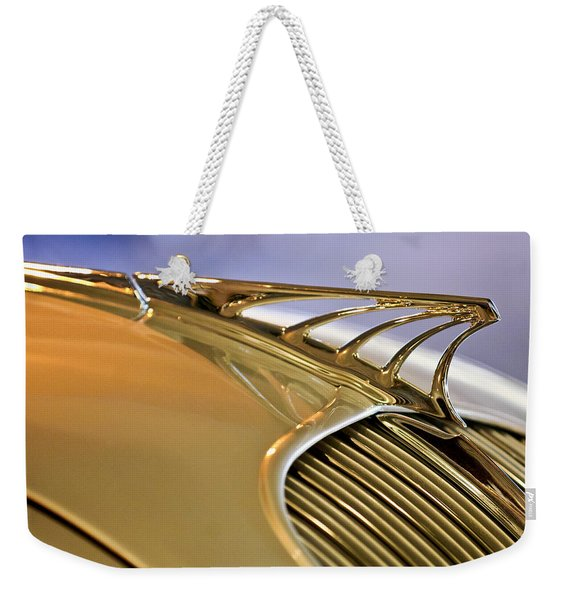 1934 Desoto Airflow Coupe Hood Ornament Weekender Tote Bag