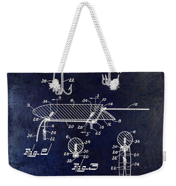 1935 Fishing Lure Patent Blue Weekender Tote Bag