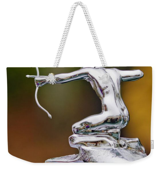 Weekender Tote Bag featuring the photograph 1935 Pierce-arrow 845 Coupe Hood Ornament by Jill Reger