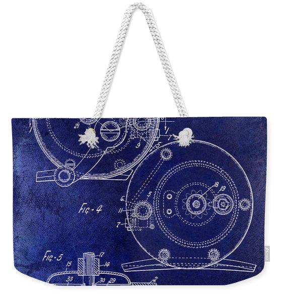 1936 Fishing Reel Patent Drawing Blue Weekender Tote Bag
