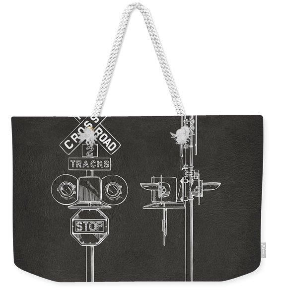 1936 Rail Road Crossing Sign Patent Artwork - Gray Weekender Tote Bag
