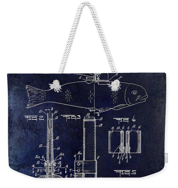 1937 Fishing Knife Patent Blue Weekender Tote Bag