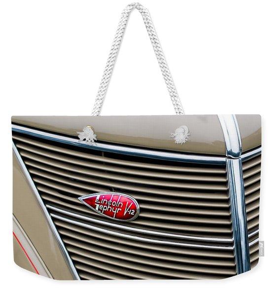 1937 Lincoln-zephyr Coupe Sedan Grille Emblem - Hood Ornament Weekender Tote Bag