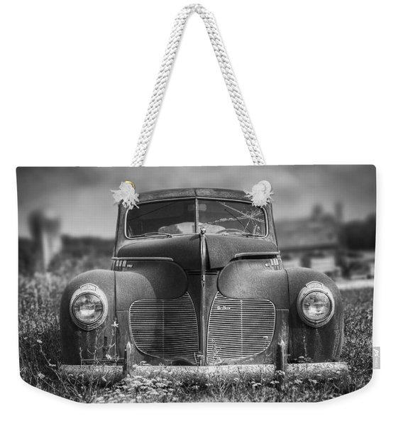 1940 Desoto Deluxe Black And White Weekender Tote Bag