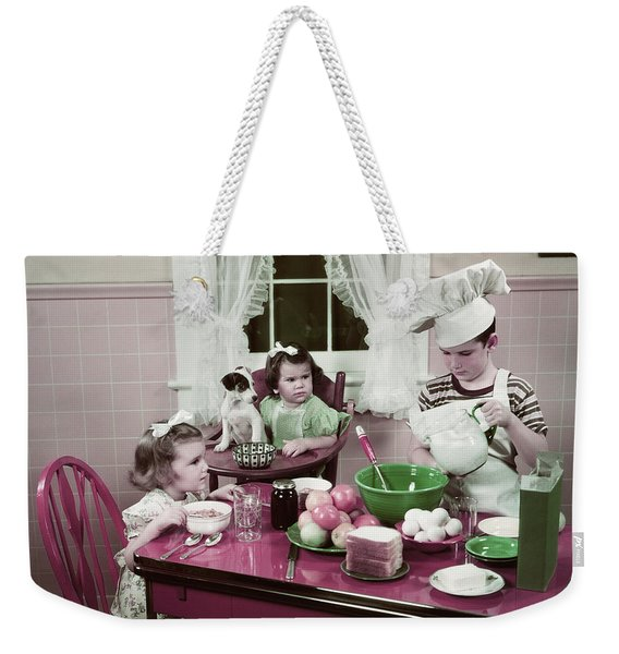 1940s 1950s Boy Two Girls At Kitchen Weekender Tote Bag