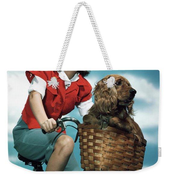 1940s 1950s Smiling Teen Girl Riding Weekender Tote Bag