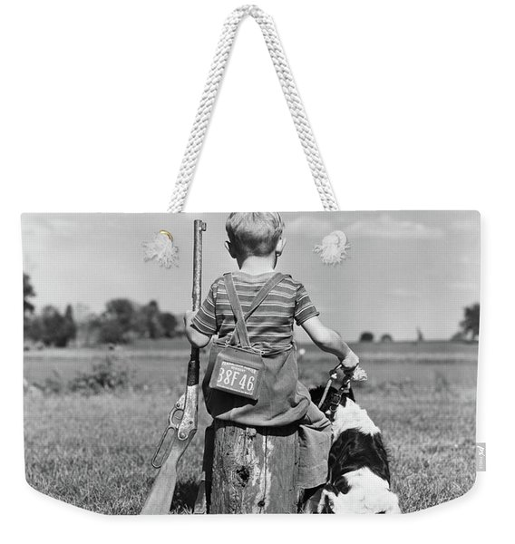 1940s Back View Of Boy Wearing Hunting Weekender Tote Bag
