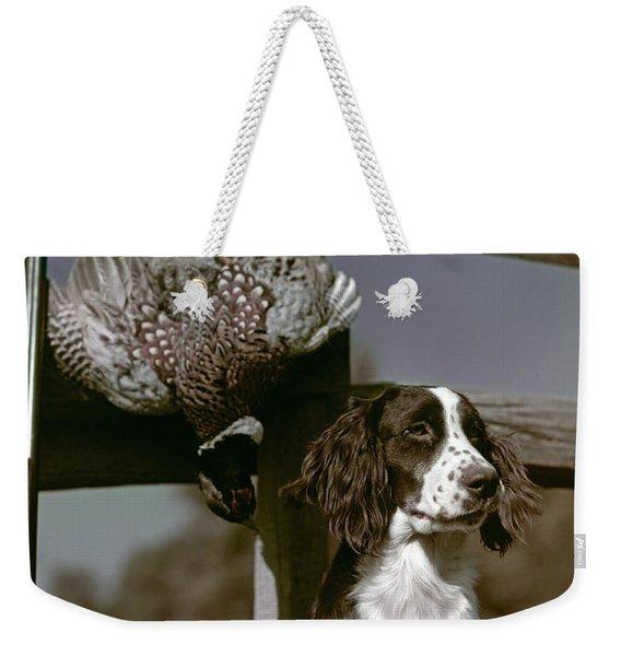 1940s Dark Brown & White Dog Springer Weekender Tote Bag