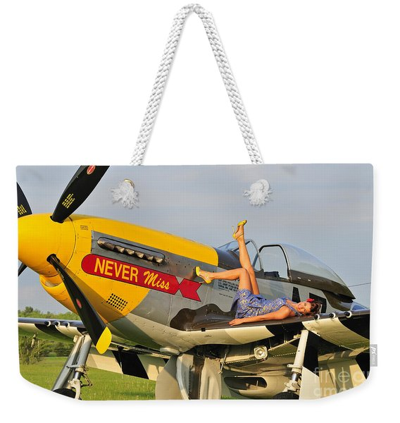 1940s Style Pin-up Girl Lying Weekender Tote Bag