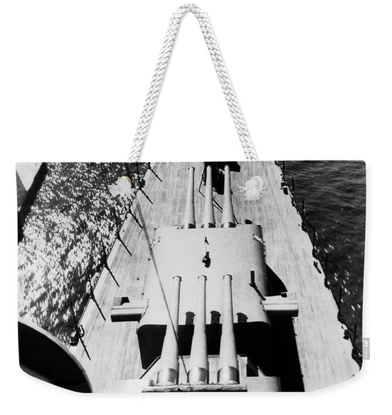 1940s Wwii Us Navy Ship Cruiser Bow Weekender Tote Bag