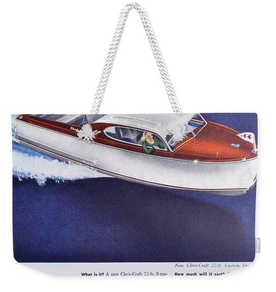 1945 - Chris Craft Power Boat Advertisement - Color Weekender Tote Bag