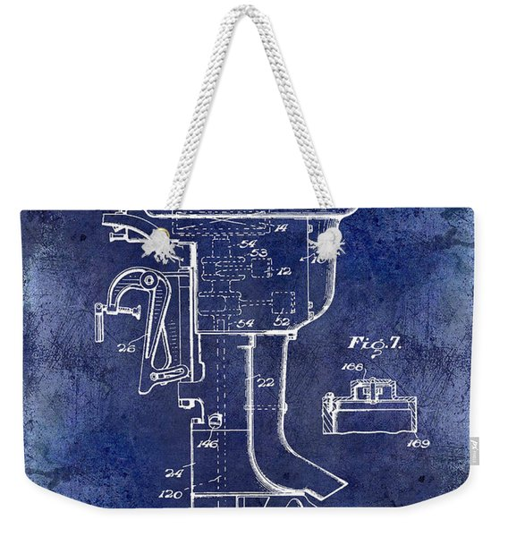 1947 Outboard Motor Patent Drawing Blue Weekender Tote Bag