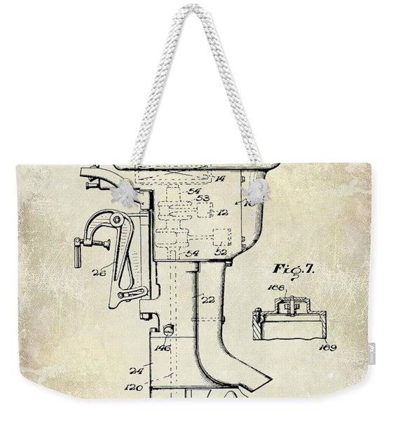 1947 Outboard Motor Patent Drawing Weekender Tote Bag