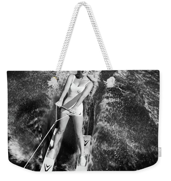 1950s 1960s High Angle View Smiling Weekender Tote Bag