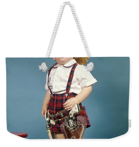 1950s 1960s Little Boy Wearing Cowboy Weekender Tote Bag