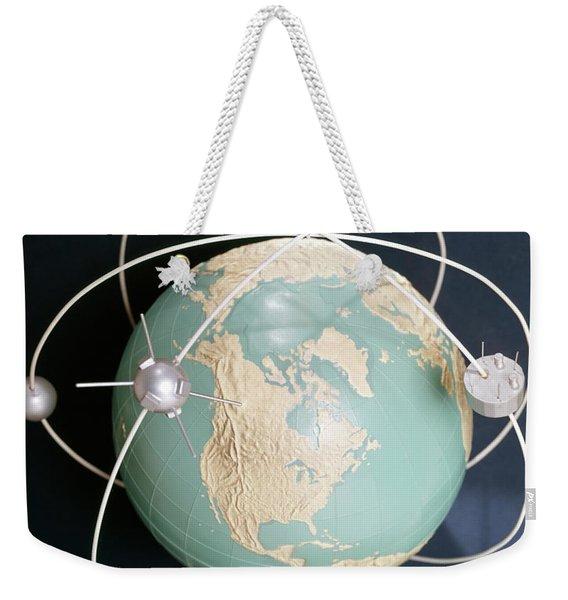 1950s 1960s Model Of Satellites Weekender Tote Bag