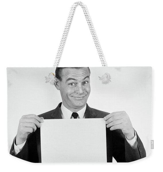 1950s 1960s Smiling Man Funny Facial Weekender Tote Bag