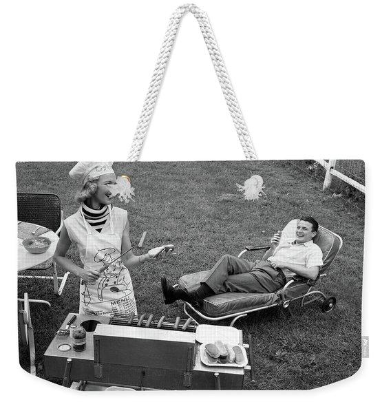 1950s 1960s Woman In Chefs Hat Weekender Tote Bag