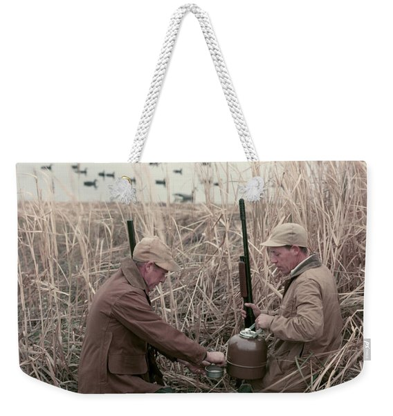 1950s 2 Men Hunters Tall Grass Reeds Weekender Tote Bag