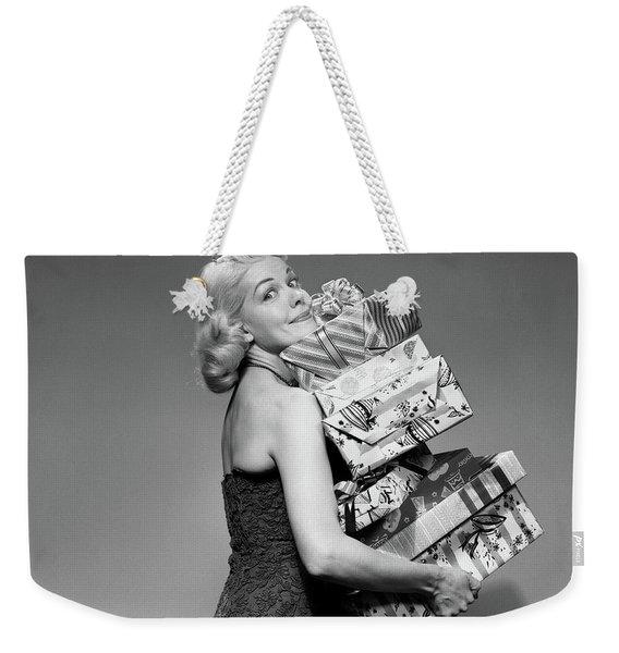 1950s Blond Woman Strapless Dress Weekender Tote Bag