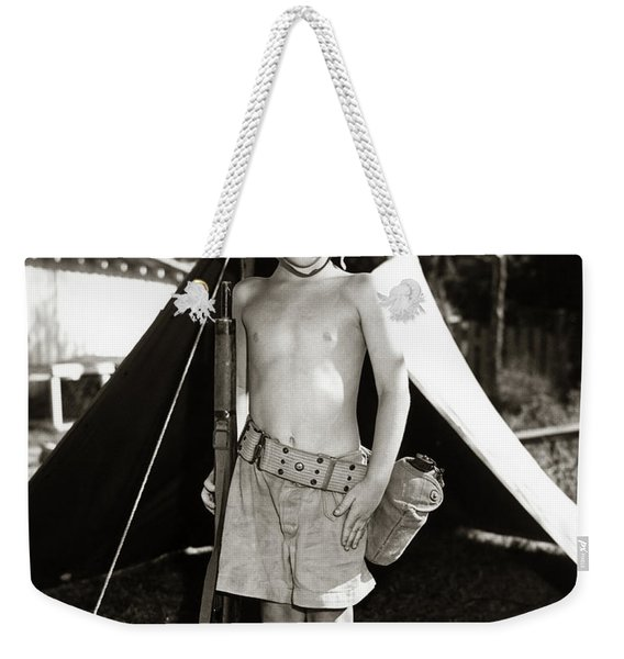 1950s Boy Playing Soldier Standing Weekender Tote Bag