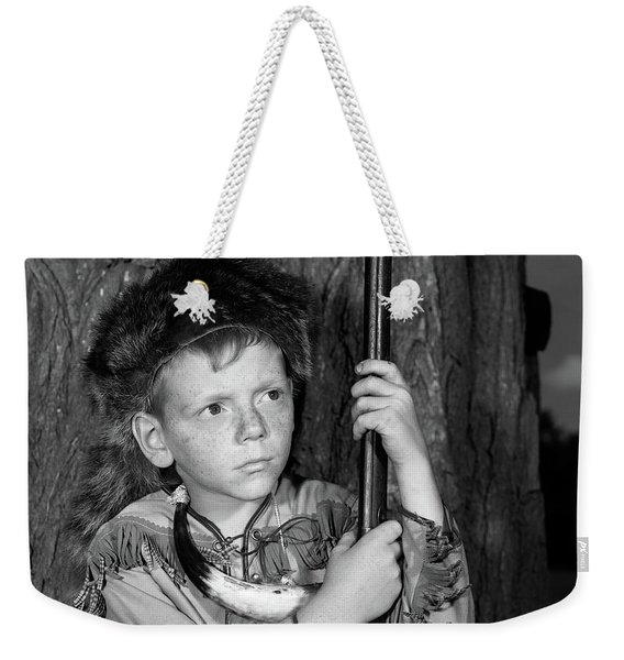 1950s Boy Wearing Raccoon Skin Hat Weekender Tote Bag