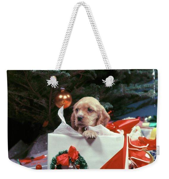 1950s Cocker Spaniel Puppy Dog Peeking Weekender Tote Bag