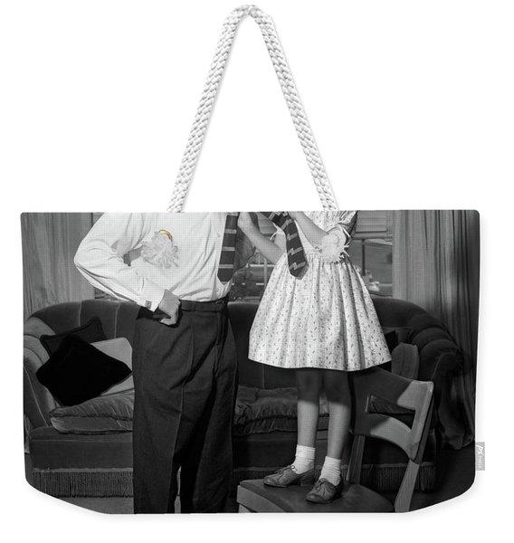 1950s Confident Little Girl Standing Weekender Tote Bag