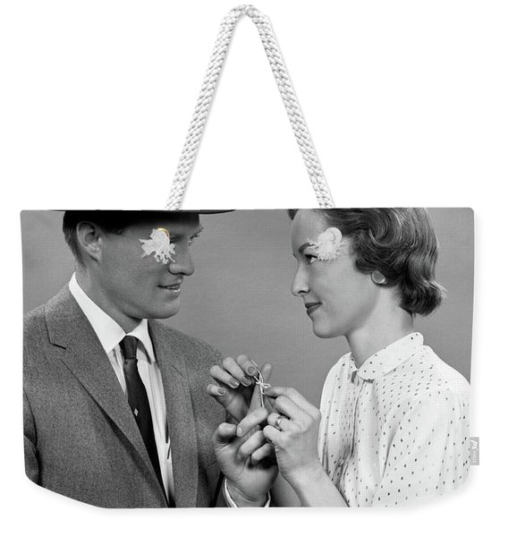 1950s Couple Woman Tying A Sting Weekender Tote Bag