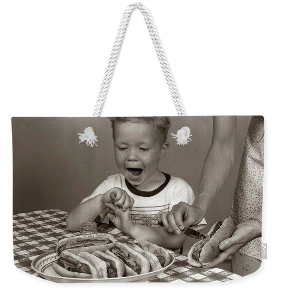 1950s Excited Boy At Table Weekender Tote Bag