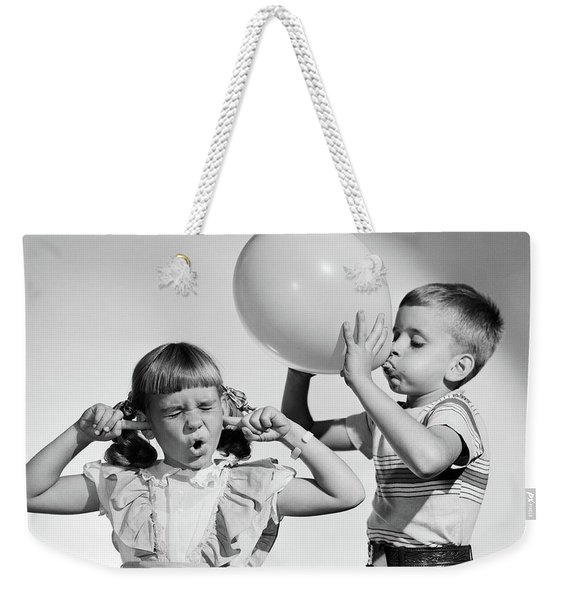1950s Little Boy Blowing Up Big Balloon Weekender Tote Bag