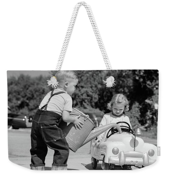 1950s Little Boy Playing Gas Station Weekender Tote Bag